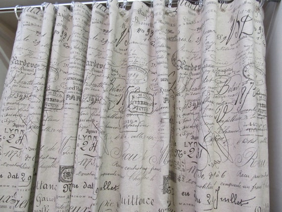Shower Curtain In French Script On Cotton Duck By