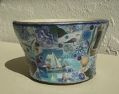 Beach Themed Decoupage Painted Bowl