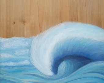 Wooden Wave Scape original painting on wood