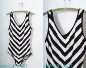 swimsuit/ chevron stripes/ black and white