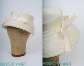 1950s hat/ 50s white bridal hat/ French veil