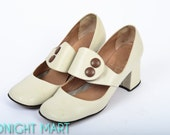 1960s shoes/ 60s Mary Janes/ Italian leather