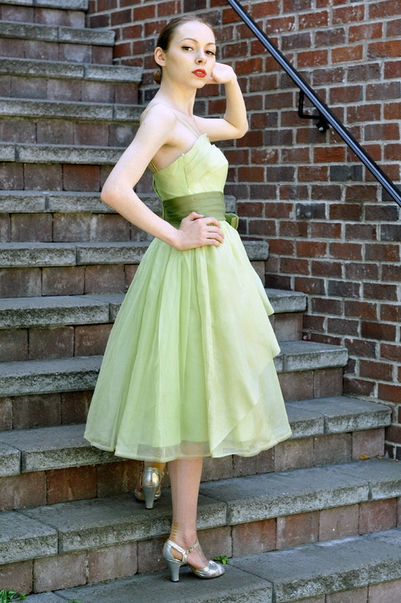 Tinkerbell vintage 1950s green chiffon party dress