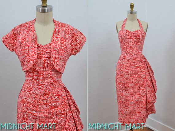1950s dress/ 50s sarong dress/ tiki