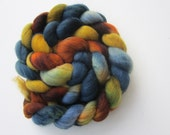 Prairie Spring- A gorgeous merino roving in shades of brown, blue, orange and yellow to spin and knit