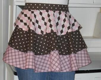 Fabric Three Tier Half Apron, Pink and Chocolate Ruffle Apron