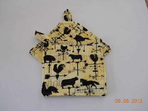 Chickens, Cows and Roosters on a Weather Vane Potholder