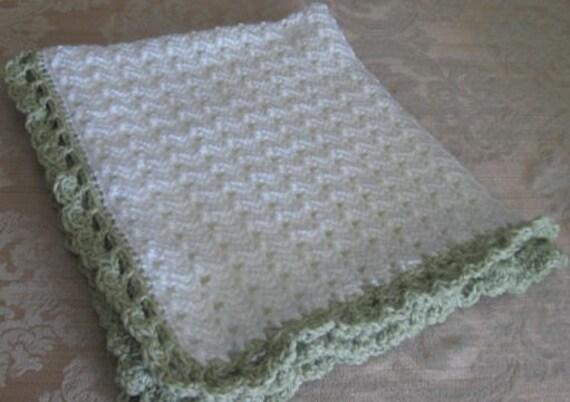 Items similar to crochet baby afghanbeautiful white with seaspray mist green ruffle edge baby for Crochet ruffle edge