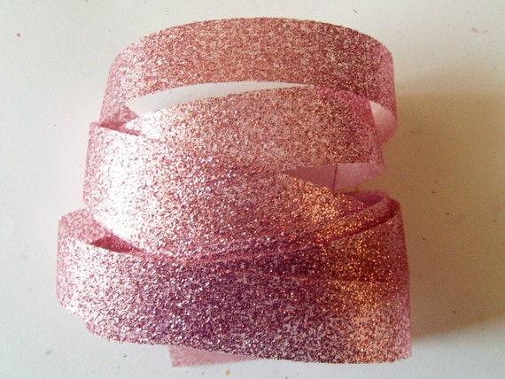 Glitter Ribbon, Shimmer and Sparkle Ribbon, Mauve Pink Ribbon   2  yards   7/8  inch wide, Great Wedding Ribbon ~ Pink Mauve Glitter Ribbon