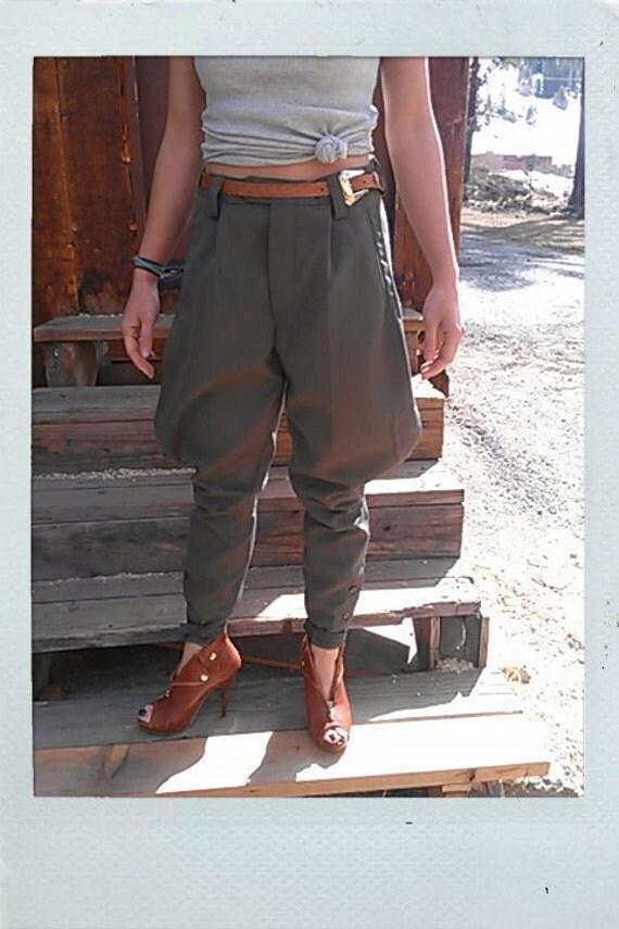 Vintage European Unisex Army Dark Grey Jodhpurs Riding Pants - Size Small or Medium