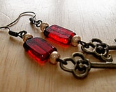 30% OFF & FREE SHIPPING  Red Glass Rectangle, Gold Glass Bead, And Antique Brass Key Earrings - Key To Her Heart
