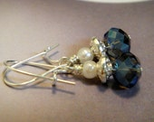 Pearl and Blue Earrings of Smokey Blue Crystals and Silver - Late Night Sky