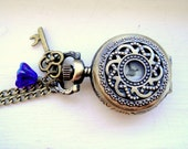 Steampunk Pocket Watch Necklace, Blue Bell Flower and Antique Brass Key Charm - Steampunk Pocket Watch Necklace