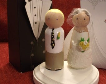 Beach Wedding - Barefoot Groom-Personalized Wood Doll Topper -Wedding Cake Toppers Fully Customizable---3-D Accents