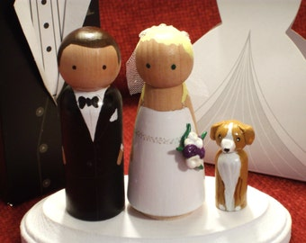 Wedding Cake Toppers with One Pet or Child - Family of Three - Fully Customizable---3-D Accents