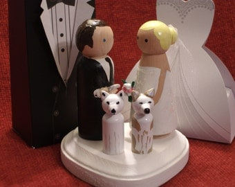 Custom Cake Toppers with Two Pets Fully Customizable---3-D Accents