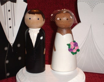 Personalized Wood Doll Topper -Wedding Cake Toppers Fully Customizable---3-D Accents