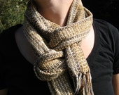 Handwoven Scarf in classic light Earth Tones