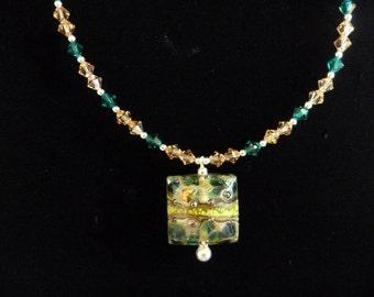 Grace Lampwork Bead and Swarovski Crystal Necklace