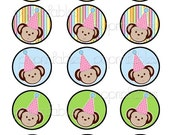GIRLS 2 inch Party Monkey Decorative Circles - Cupcake Toppers, Party Favor Decor, Scrapbooking - Printable
