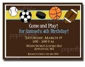 Boys Sports Themed Birthday Party Invitation - DIY PRINTABLE