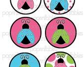 Ladybug Pink Blue Green 3.25 inch Circle Tags - Digital Tags - Party Printables