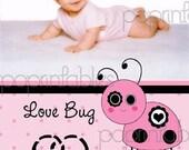 Love Bug - Pink Cute Ladybug - Valentine's Day Card - Custom Digital - You Print and Save