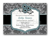 Sophisticated Graduation Party Invitation - Grey and Blue Damask with Flowers - PRINTABLE