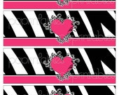 Zebra Print and Heart Girl's Birthday, Bridal or Baby Shower - Water Bottle Labels - DIY PRINTABLE