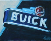 Vintage Buick Sign 12 X 9 Original Painting