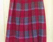 Vintage Plaid Pleated Wool Skirt from Denmark Red Green and Gold  by Anette