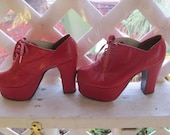 half off entire store see announcement Vintage Peep Toe Platform shoes Size 5 and half Red Hot Sexy with 4 in heels