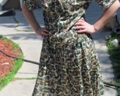 Vintage 1960's Day Dress by The Stroller Green and Gold Charming Dress