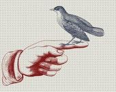 Bird in the Hand - Vintage Illustration Digital Collage - Giclee Art Print