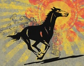 Riding Into the Sunset- Retro Horse Graphic Illustration - Giclee Print