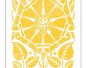 Yellow Dutch Flower - Vintage Woodblock with a Modern Twist - Giclee Art Print