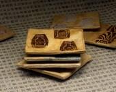 Handmade Ceramic Bottle Stamp Coaster Set of 4