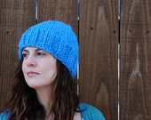 HIp knit adult hat in bright sky blue