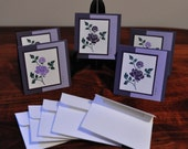 Purple Flower Mini Note Cards - Set of 5, Greeting Card, Green, Lavendar, White, Thank You, Birthday, Thinking of You, Note to Say Hi, Blank