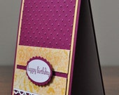 Happy Birthday Greeting Card, Embossed, Yellow, Purple, Pink, Burgundy, White, For Her, Stamped, Rhinestones, Blank Inside