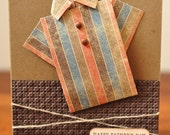 Happy Fathers Day Greeting Card, For Him, Dad, Grandpa, Son, Brown, Ivory, Shirt, Stripes, Stamped, Blank Inside