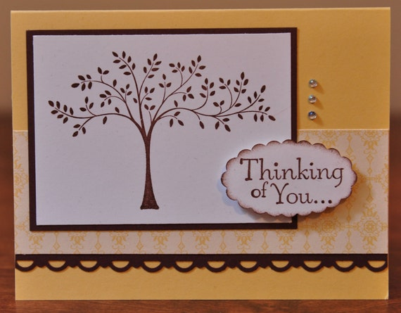 Thinking of You Greeting Card, Tree, Brown, Yellow, Sympathy, Friend, Family, Rhinestones, Stamped, Blank