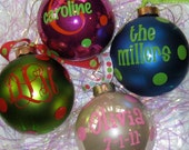"""ONE Large Personalized Christmas Ornament - 4"""" Large Glass Ball"""