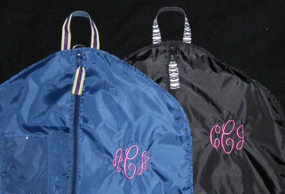 Monogrammed Personalized Garment Bag with Ribbon Trim