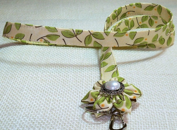 Fabric Lanyard -  Badge Lanyard - With DETACHABLE Flower Ivory With Green Leaves