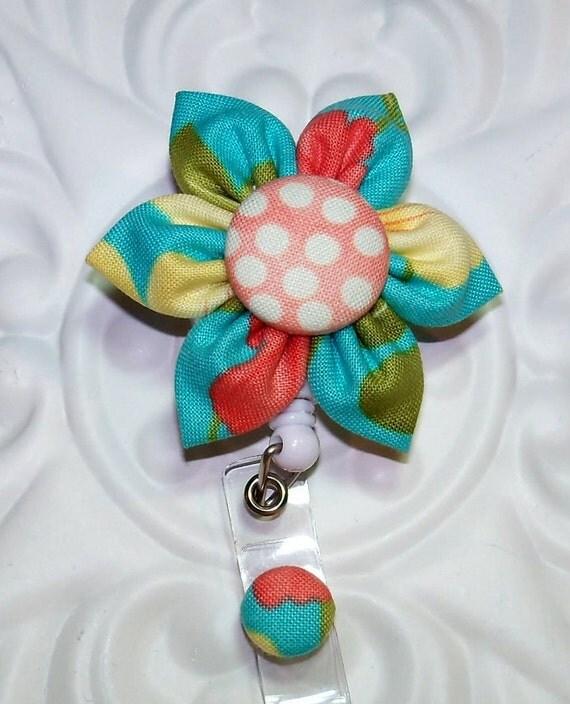 Id Badge Retractable Id Badge Holder Kanzashi Flower Blue Print