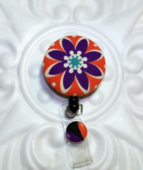 Retractable Badge ID Holder    Badge Reel Fabric Covered Button Orange Purple