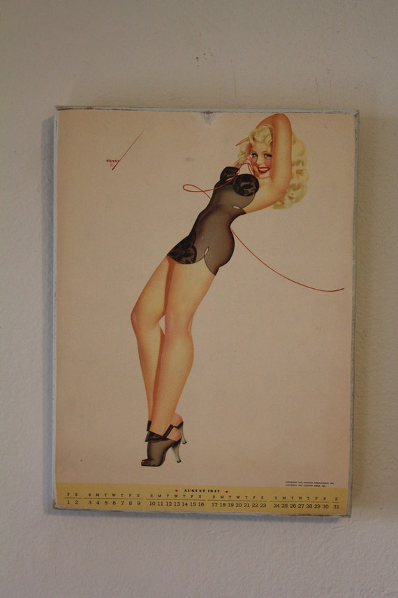 Pin Up Calendar Vintage : Vintage august petty pin up calendar by