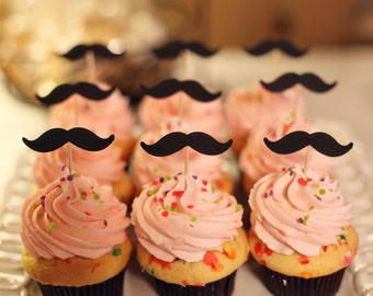 12 Mustache Cupcake Toppers