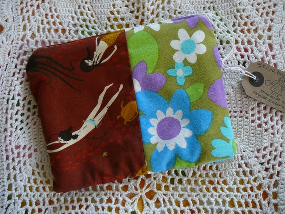 Heather Ross and 1970s retro  floral vintage case, pouch, make up bag, cosmetic bag
